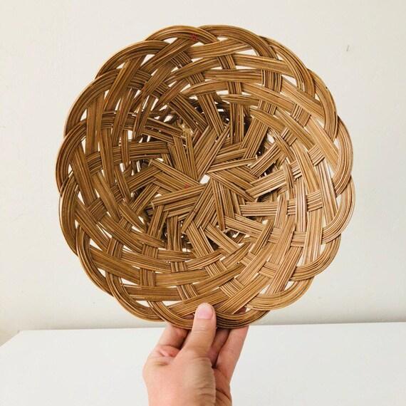Vintage Brown Woven Basket Medium Braided Wall hanging Decorative Storage Basket Boho Decor
