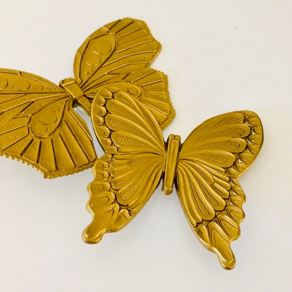 Vintage Gold Butterfly Wall Hangings Set of (2) Mid Century Syroco Resin Butterlies Wall Decor