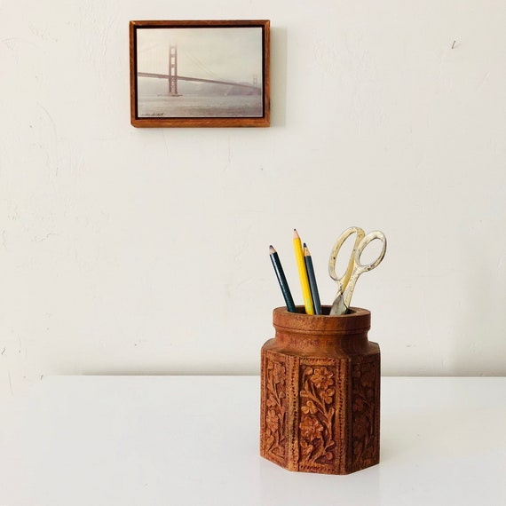Vintage Rosewood Pencil Holder Hand Carved Brown Wood Floral Office Desk Organizer Boho Decor
