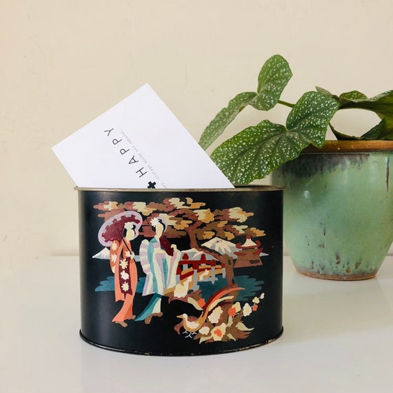 Vintage Tole Oval Black Metal Letter/Envelope Holder Hand Painted Asian Landscape Scene Deck Organizer Accessory