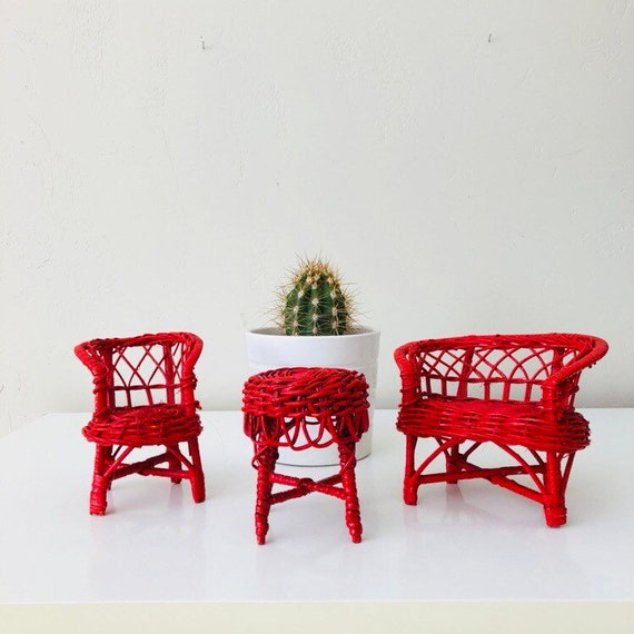 Vintage Red Miniature Wicker Furniture Set of (3) Woven Red Wicker Dollhouse Sofa Chair Table  Furniture Set Boho Decor