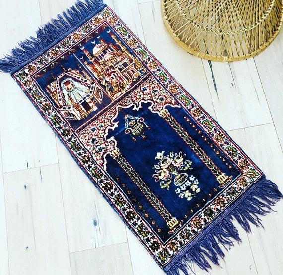 Vintage Blue Tapestry Velvet Navy Blue Wall Hanging Turkish Prayer Rug Vintage Rug Boho Decor