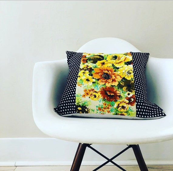 "Retro Yellow Floral Pillow Cover 18"" x 18"" Square Cushion Pillow Black and White Polka Dots Mid Century Boho Decor"