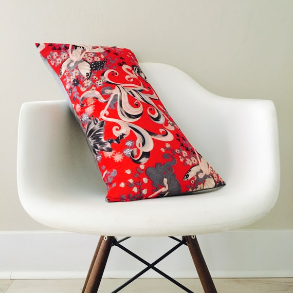 "SALE Vintage Red Fairy Pillow Cover 14""x24"" Lumbar Cushion Pillow Mid Century Whimsical Seasons Winter Fairy Floral"