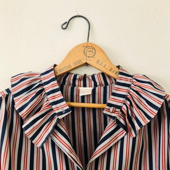Vintage Gray Striped Blouse Women's LORCH Brand Ruffled Button Up Long Sleeve Shirt Blue and Maroon Stripes