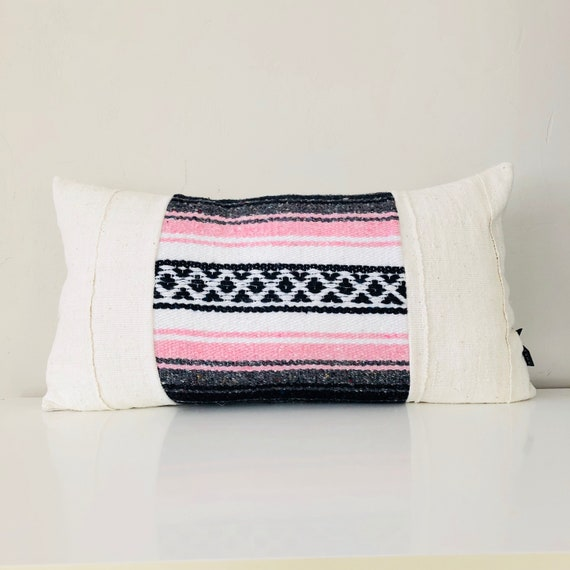 "Boho Pink Tribal Pillow Cover 14""x24"" Lumbar Cushion Pillow Ethnic White Mudcloth Bohemian Blush Pink Grey Black Striped Mexican Blanket"