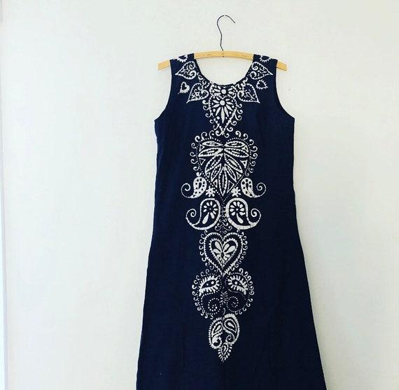 Vintage Blue Indigo Batik Dress Size Small Handmade Heart Floral Paisley Tie Dye Bohemian Long Sleeveless SunDress