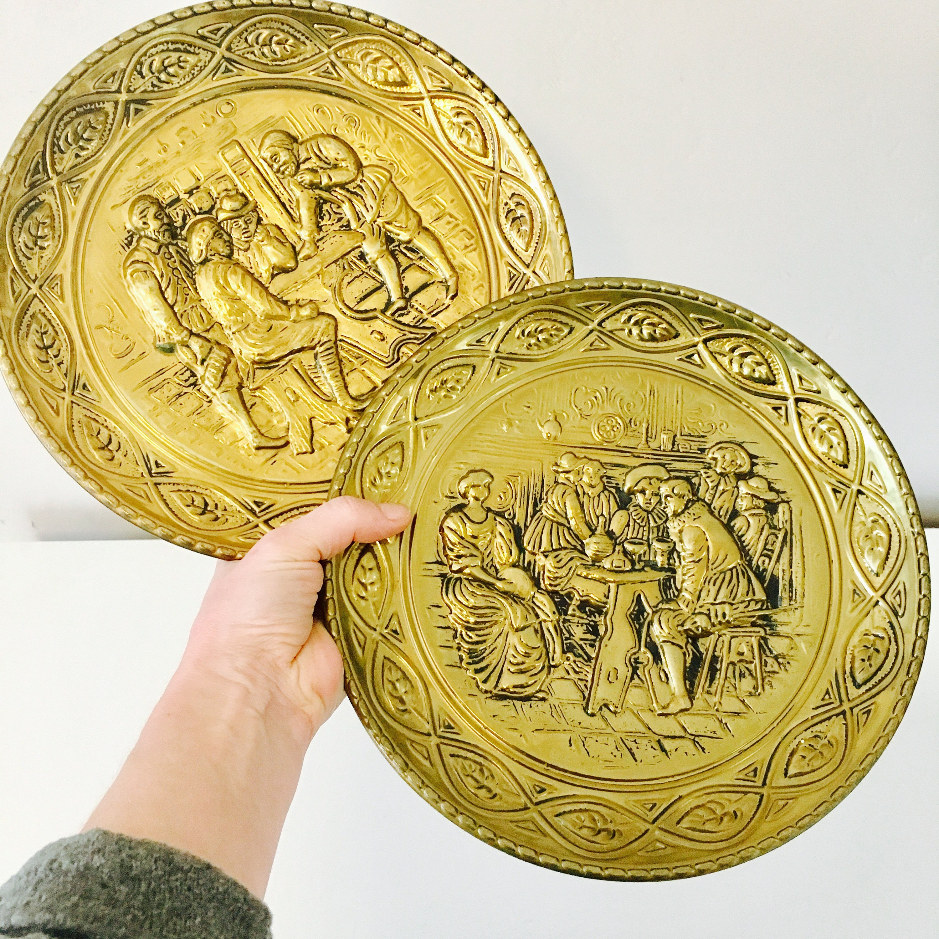 Vintage Brass Wall Plates Set of (2) 10 Embossed Brass Decor Made in ...