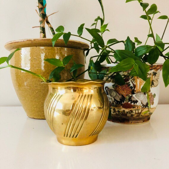 Vintage Brass Planter Brass Plant Holder Hollywood Regency Gold Planter Boho Bohemian Decor