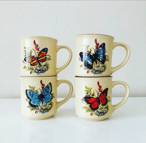 Vintage Ceramic Butterfly Mugs Set of (4) Colorful Botanical Stoneware Coffee Cups Boho Style