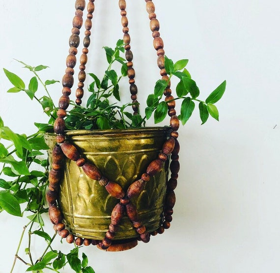 Vintage Wood Beaded Plant Hanger Brown Wooden Bead Hanging Plant Holder Boho Decor