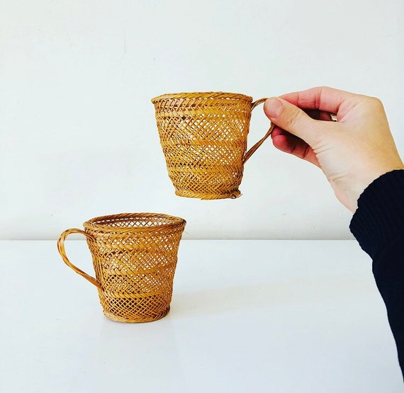 Vintage Rattan Cup Holders Set of (2) Woven Wicker Mugs Boho Decor