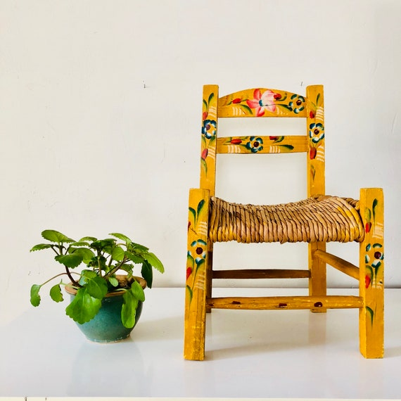 Vintage Yellow Childs Chair Mexican Hand Painted Primitive Colorful Floral Wood and Straw Plant Stand Bohemian Decor