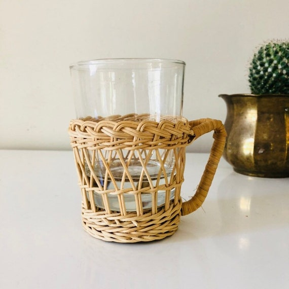 Vintage Wicker Rattan Glass Mug Inserts with Glass Cup Holder
