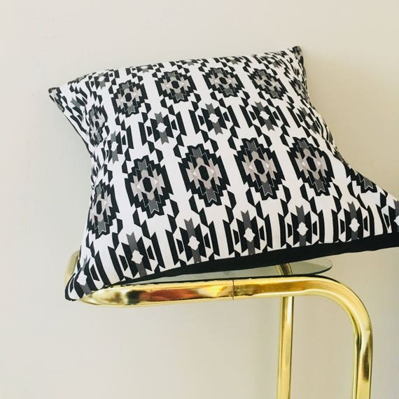 "Black and White Boho Tribal Pillow Cover 18""x18"" Square Cushion Pillow Gray Ethnic Bohemian Aztec Motif"