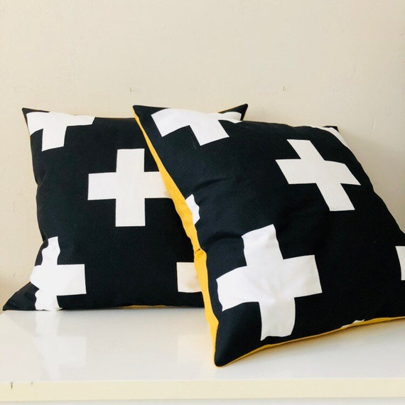 "Black and White Swiss Cross Pillow Cover 20""x20"" Square Cushion Cover Graphic Bold Geometric Plus Sign Modern Pillow Cover"