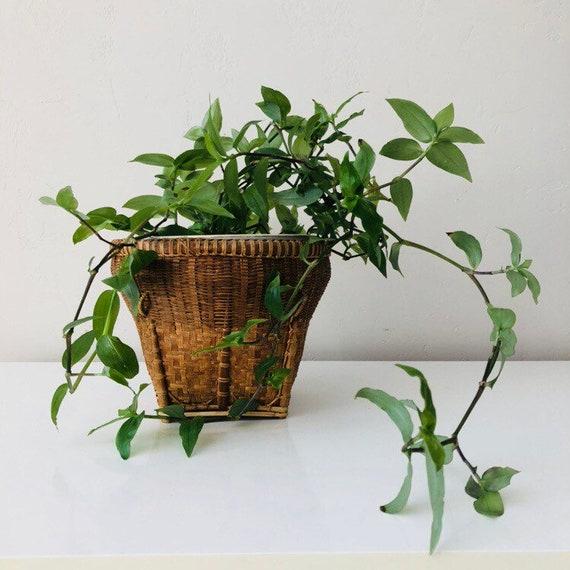 Vintage Wicker Basket Woven Wicker Jungalow Plant Basket Rustic Rattan Indoor Plant Holder Boho Decor