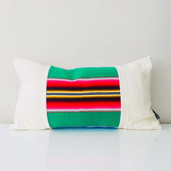 "Boho Green Serape Pillow Cover 14""x24"" Lumbar Cushion Pillow Ethnic Bohemian Pink Striped Pillow"