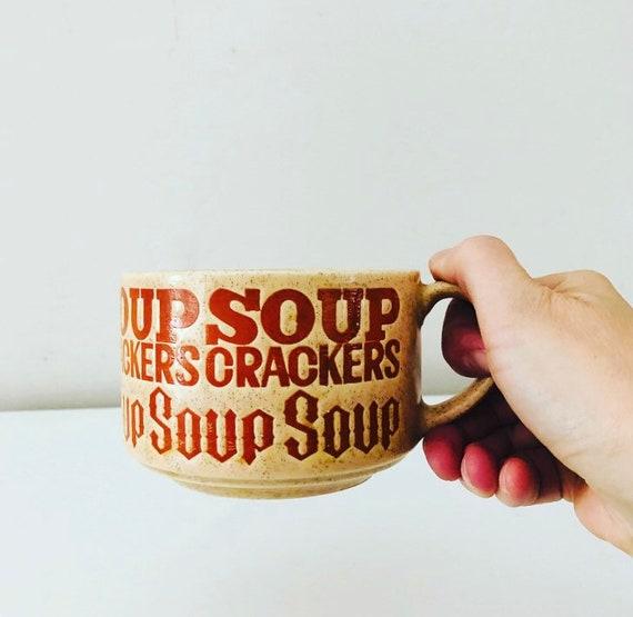 Vintage Ceramic Soup Mug Retro Orange SOUP CRACKERS Word Fonts Large Speckled Stoneware Mug Made in JAPAN