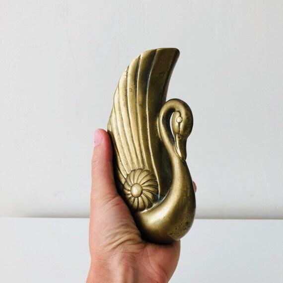 Vintage Brass Swan Wall Sconce Art Deco Vase Wall Hanging Brass Bird Wall Pocket Bohemian Decor