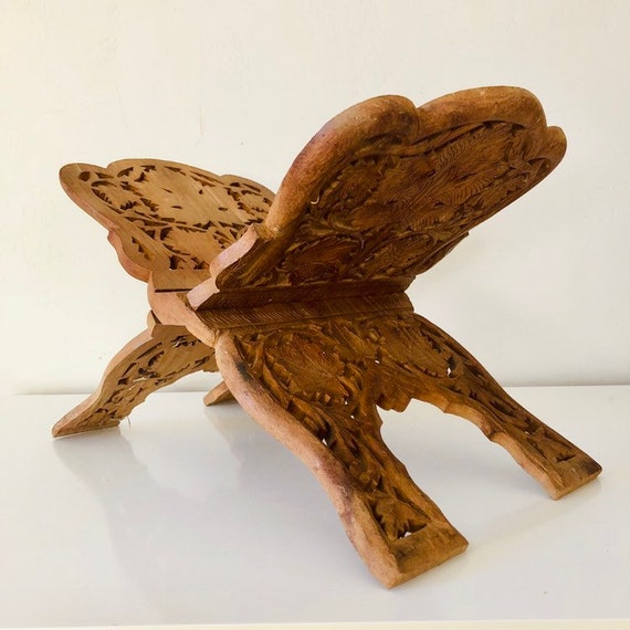 Vintage Wood Leaf Book Stand Hand Carved Ornate Wooden Collapsible Fold Out Book Display Bohemian Boho Decor