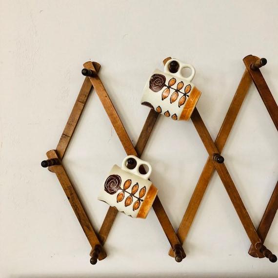 Vintage Wood Accordion Peg Wall Hanging Rack Wood Display Organizer Adjustable Hat Rack