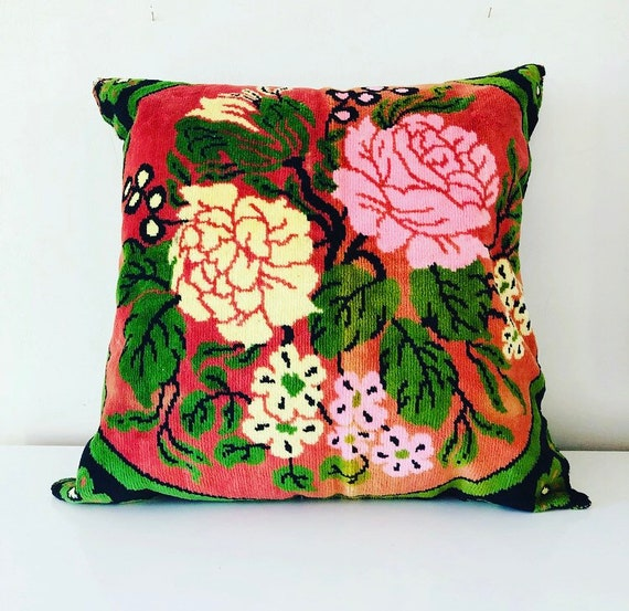 Vintage Velour Floral Pillow Pink Green Black Botanical Flower Decorative Pillow Bohemian Boho Decor