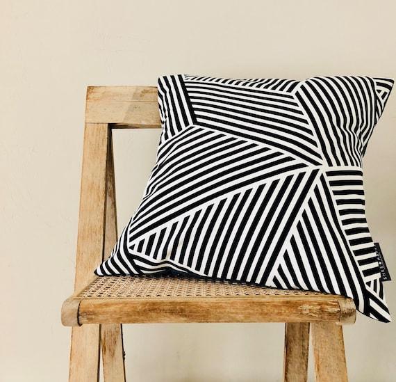 "Black and White Striped Pillow Cover 18""x18"" Cushion Diagonal Graphic Black White Thin Stripes Modern Bold Pillow Cover"