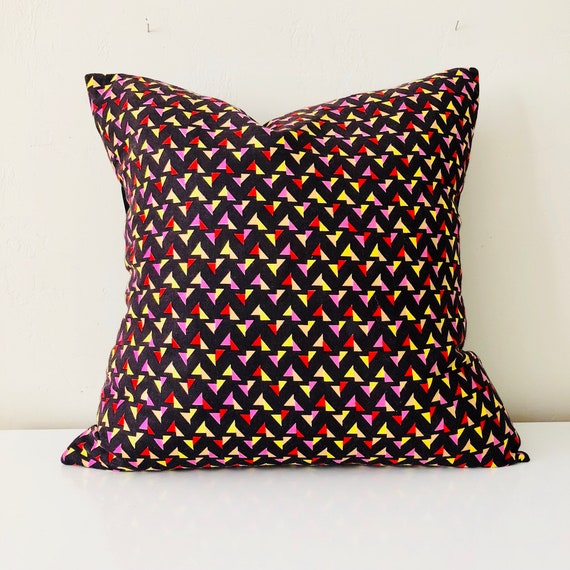 "SALE Black Multicolored Triangle Pillow Cover 18""x18"" Cushion Cover Geometric Vintage Fabric Red Pink Yellow Triangles Pillow Cover"