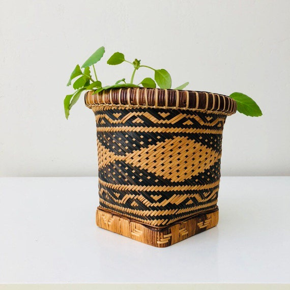 Vintage Black Rattan Bohemian Basket Woven Wicker Basket Black Beige Geometric Tribal Container Aztec Boho Decor
