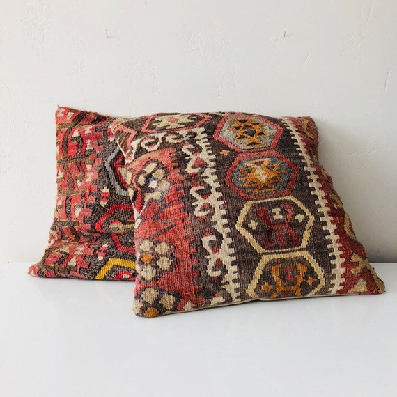 """Vintage Kilim Pillow 16"""" x 16"""" Decorative Turkish Throw Pillow Natural Moroccan Kilim Cushion Cover and Down Insert"""