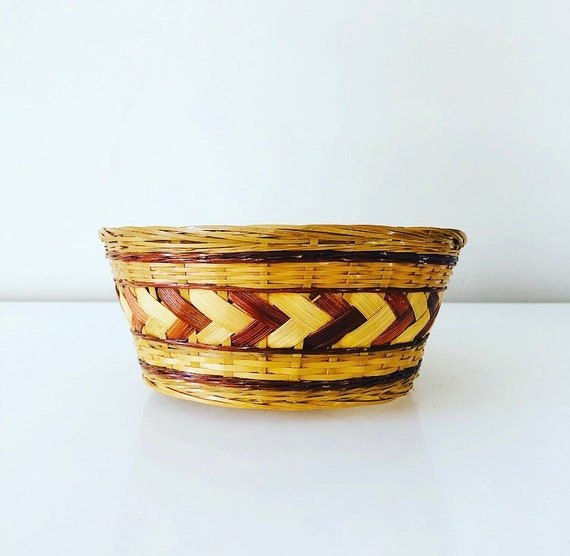 Vintage Rattan Basket Small Woven Geometric Arrow Pattern Basket