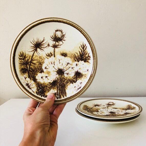 Vintage Brown Floral Plates Set of (3) Ceramic Dandelion Thistle Dessert Plates Mikasa Nature's Gallery Japan Woodland Tableware Boho Decor