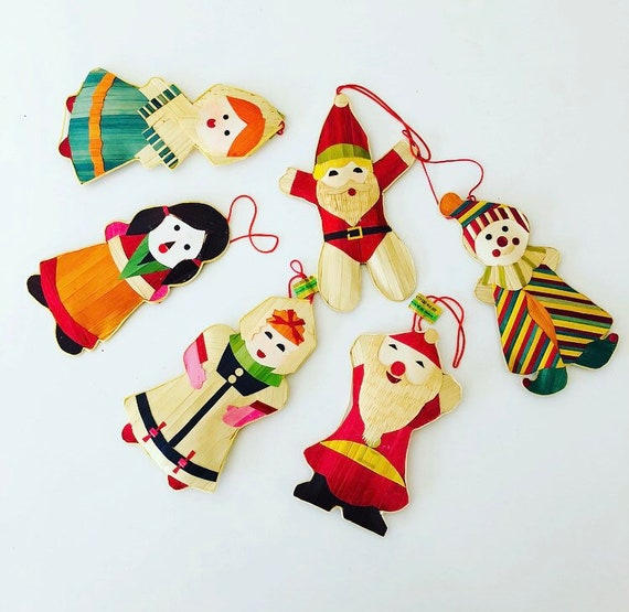 Vintage Christmas Ornaments Set of (6) Various Hand Woven Bamboo Holiday Ornaments