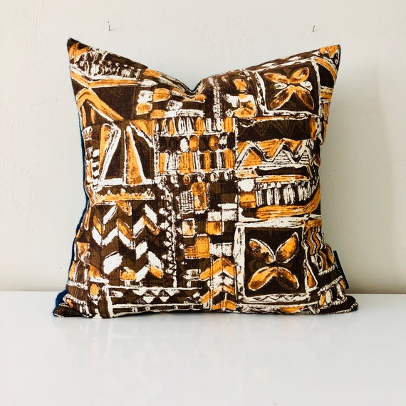 "SALE Vintage Brown Tribal Pillow Cover 18""x18"" Square Cushion Cover Mid Century Orange and White Geometric Retro Teal Knit Pillow"