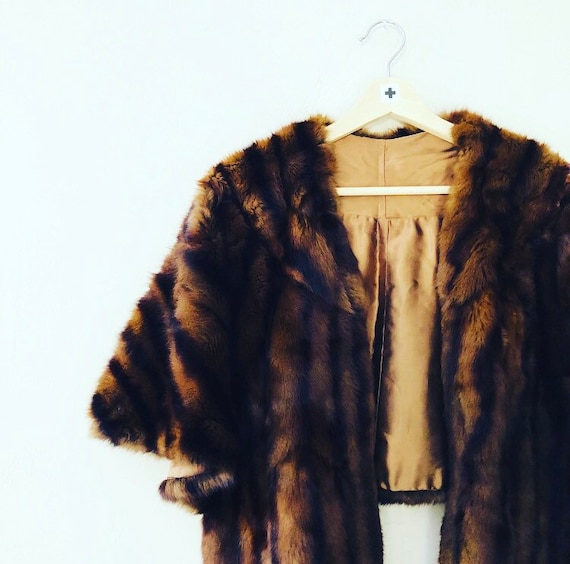 Vintage Mink Stole Brown Striped Satin Lined Fur Shawl/Cape