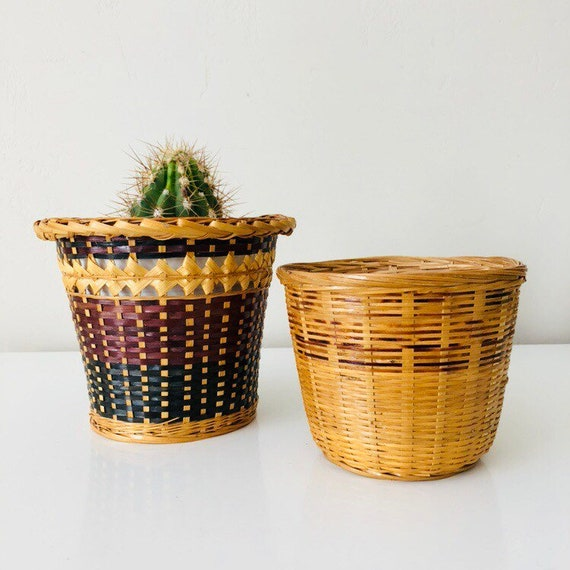 Vintage Rattan Baskets Set of (2) Woven Wicker Medium and Small Brown Beige Black Plant Baskets