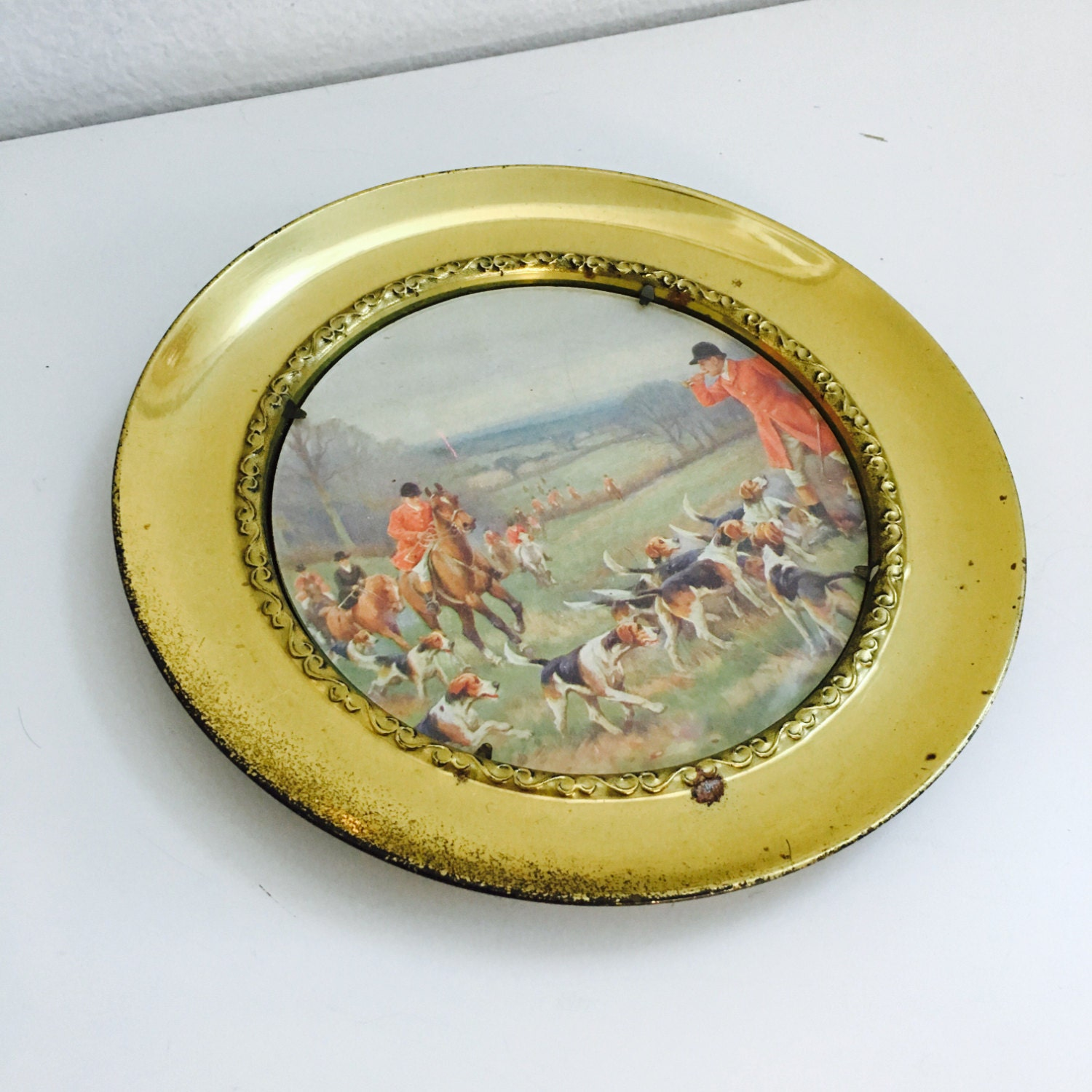 Vintage Brass Wall Plate English Landscape Hunting Dog Scene Chic ...