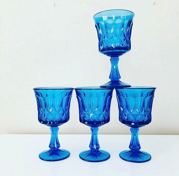 Vintage Blue Stemware Glasses Set of (4) Heavy Blue Glass Goblets