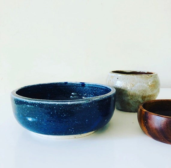 Vintage Blue Stoneware Bowl Hand Made Ceramic Indigo Salad Bowl Boho Decor