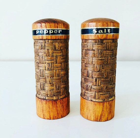 Vintage Wood Salt + Pepper Shakers Mid Century Woven Straw Shakers with Graphic Black Gold Font