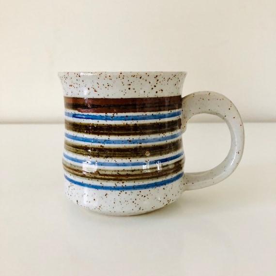 Vintage Striped Ceramic Mug Blue Brown Stripes Stoneware Coffee Cup