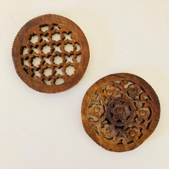 Vintage Hand Carved Wood Trivets Set of (2) Ornate Floral Plant Stand Primitive Hot Pads Rustic Boho Decor