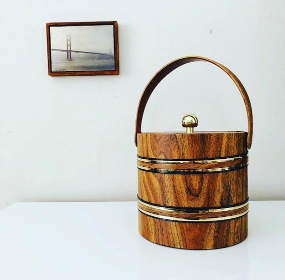 Vintage Vinyl Faux Woodgrain Ice Bucket Brown and Gold Striped Mid Century Bar Cart Decor