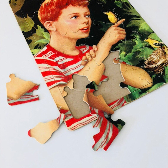 Vintage Saalfield Puzzle Little Boy with Bird Childs Black Inlaid Tray Puzzle Bird Nest Green Leaves Vintage Toy Puzzle