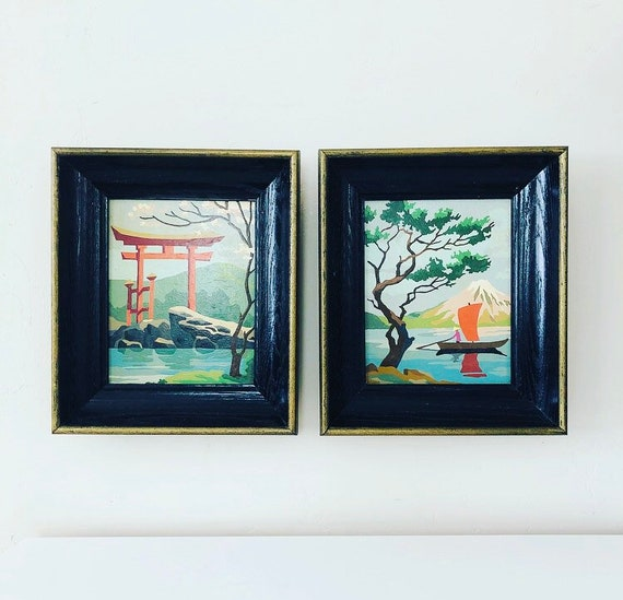 Vintage Paint By Number Set of (2) Black Framed Asian Landscape Pagoda Paintings