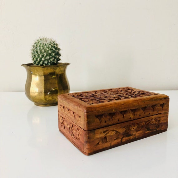 Vintage Carved Wood Jewelry Box Brown Rosewood Hand Carved Floral Hinged Trinket Box with Lid Boho Decor