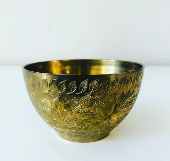 Vintage Small Brass Etched Floral Bowl