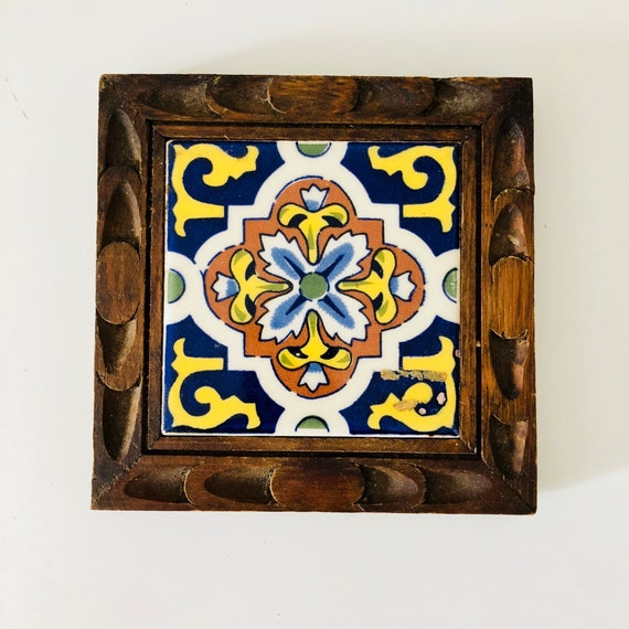 Vintage Hand Carved Wood and Ceramic Tile trivet Mexican Indigo Blue and yellow Floral Bohemian Kitchen Trivet Plant Stand Boho Decor