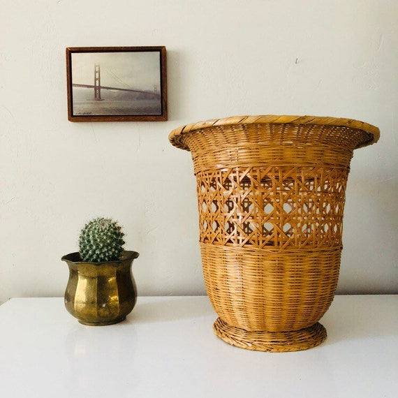 Vintage Rattan Basket Woven Wicker Cane Plant Basket Boho Decor